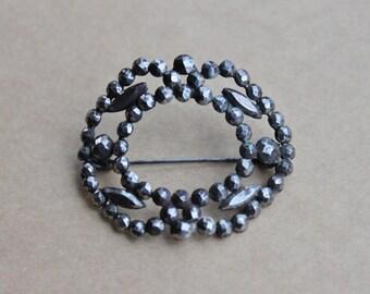 Victorian Cut Steel Collar Brooch / Georgian Cut Steel Domed Pin