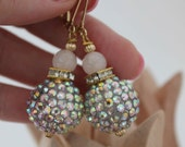 ON SALE Oversize Pink Rhinestone and Rose Quartz Crystal Statement Earrings on Gold Plated Hooks