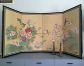 Vintage or Antique Asian Japanese Screen Mural Wall with Panels Peonies Birds Flowers, Folding Silk Screen
