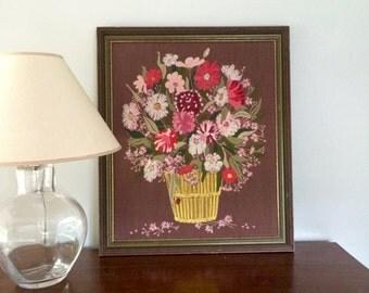 LARGE Vintage Crewel Floral Basket Embroidery Framed Needlework