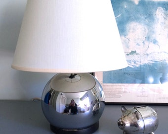 Vintage Eyeball Table Lamp, Chrome Bubble Lamp, Stacked Ball