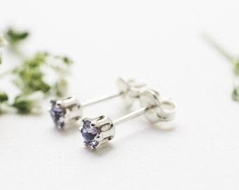 Purple Mini Stud Earrings. Small Sterling Silver Studs. Tiny Stud Earrings. Silver Stud Earrings. Small Amethyst Studs.