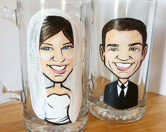 Custom Bride and Groom Toasting Glasses -  The Original Caricature Glasses (tm) - Hand Painted Beer Mugs - Caricature Glasses -