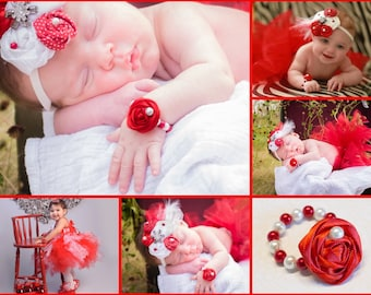 Newborn Rosette Bracelet, Little Baby Girl Pearl Beads w Fabric Flower, photo prop, baby shower gift, Red, White, First Birthday Outfit