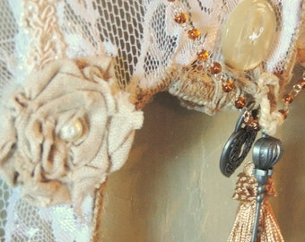 Angel Wings, Angel Wings Decor, Religious Item, Wall Decor, Gift Item, Antique Buttons, Linen Roses and Lace, Beaded Chain