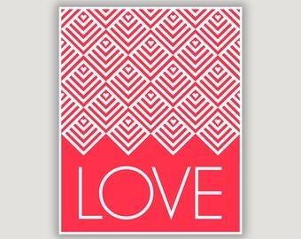 Love Art Print, red nursery decor, paper anniversary, wedding gift, love gift, typography art, geometric art, red bedroom art, Valentine art