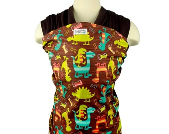 Baby Carrier Hybrid Stretch Wrap - Dino Dudes - Instructional DVD for Front and Back Carries - Custom Fit At Every Developmental Stage
