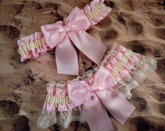Blush Pink Ribbon Ivory Lace Bridal Wedding Garter Toss Set