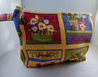 Yellow Hot Pink Gardening Flower Makeup Bag Tassel Cosmetic Travel Bag Organizer Bag Cute