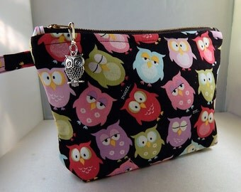 Owl Print Owl Charm METAL Zipper Makeup Bag Cosmetic Travel Bag Organizer Bag Cute