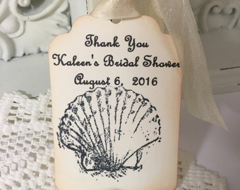Seashell Wedding Favor Tags...Shell Personalized Gift Tags..Beach Theme Thank You Tags Bridal Shower Set of 12