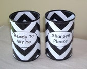 Black and White Chevron Desk Accessories, Pencil Holder Set, Tin Can Pencil Holder with Labels, Classroom Organization, Teacher Gift   806