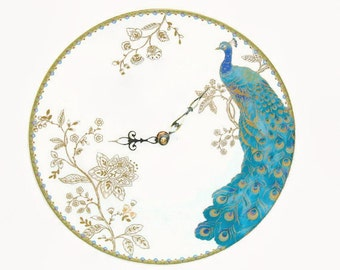 Elegant Turquoise and Gold Peacock Wall Clock, 11 Inch Turquoise Blue Porcelain Plate Wall Clock, Peacock Home Decor, Unique Wall Clock 2001