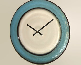 SILENT Tan and Teal Wall Clock 11 Inches, Stoneware Plate Clock, Kitchen Clock, Unique Wall Clock, Kitchen Decor - 2084