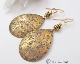 Hammered Brass Earrings Gold Teardrop Dangle Earrings Artisan Handmade Tribal Boho Chic Modern Bohemian Metal Jewelry Cleopatra Earrings