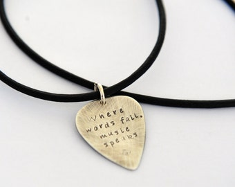 Guitar Pick Necklace - Music Love Gift - Sterling Silver Guitar Pick - Gift For Him - Musician Gift - Mens Leather Necklace
