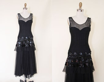 1930s Dress - Vintage 30s Evening Gown - Black Sequin Fishnet Deco Dress S M - Daredevil Dress