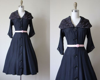 40s Dress - Vintage 1940s Dress - Black Pink Rayon Coat Dress S - Evening Forecast Dress