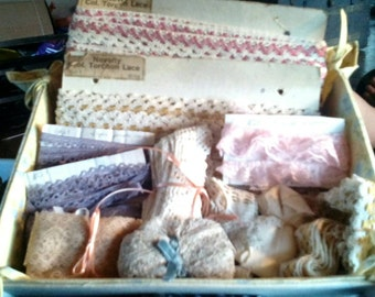 Handmade Box of Vintage Laces