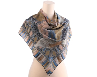 Blue Crepe Silk Scarf 80s Vintage DOVE PRINTED Shawl Shades of Smoky Blue Beige Pink Pastel Muffle Bohemian Women Gift Christmas Idea