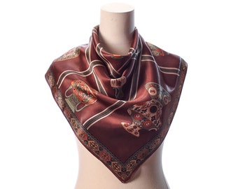 MYTHOLOGY Print Scarf 70s Grecian Amphora Greek Gods Printed Bohemian Retro Satin 1970s Neck Shawl Brown Rustic Green Gift Idea