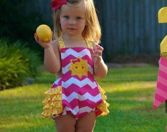 First Birthday sunsuit- Pink lemonade - You Are My Sunshine theme