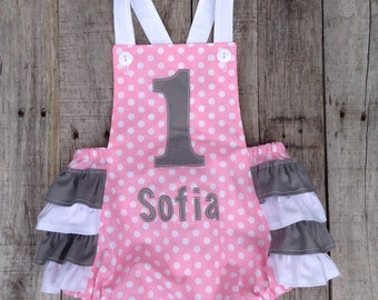 Pink and Grey First Birthday sunsuit