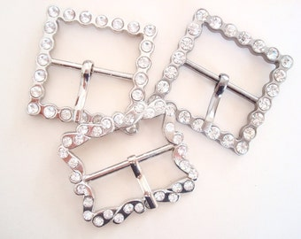 Silver rhinestone belt buckles, 3 new-old-stock buckles, fancy vintage buckles, dressmaker accessory embellishment