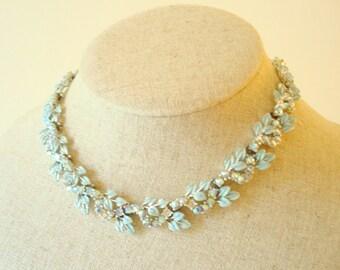 "Aqua blue Coro rhinestone necklace, 18"" collectible Coro necklace, aurora borealis stones & aqua enamel petals, vintage costume jewelry"