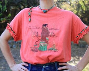 HOME FIRE - 1980s Sunbelt Tee Handmade Upcycled Bead Beaded Fringe Sleeves Native American Woman Teepee Tipi Southwestern Southwest Desert