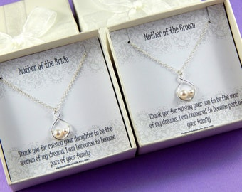 Mother Of The Bride and Mother of the Groom Necklace Set, Set of 2 Necklaces, Mother of the Bride and Mother of the Groom Gift