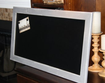 Large, Gray, Distressed, Vintage-Framed, Magnetic, Chalkboard (18 1/2 x 35 1/2 inches)  Weddings/Home/Restaurants