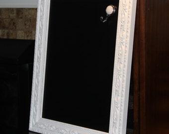 Large, Ornate, White, Vintage, Framed Magnetic Chalkboard (Home/Restaurant/Wedding 15 1/2 x 19 1/2 inches)