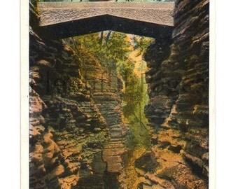 1928 Cavern Gorge, Watkins Glen, New York Vintage Postcard, Vintage Souvenir, Collectible Postcard, 1920's New York, Antique Postcard.