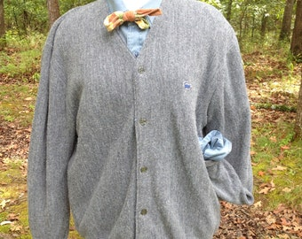 Vintage Izod Of London Men's Grey Cardigan XL 1980s
