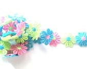 2 yards  Cute daisy flower trim size 25 mm mix multi color