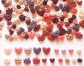 100 pcs - Cute Love Heart Button & Flower Buttons Size 6mm 10mm Earth Tone