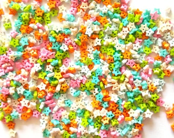 200 pcs tiny star buttons size 4mm mix color