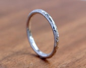 Silver Stacking Ring - Hammered Silver Stacking Ring -