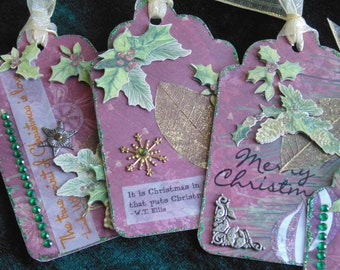 CLEARANCE!! Holiday Gift Wrap Scrapbooking Paper Crafts Tags 6 in Package