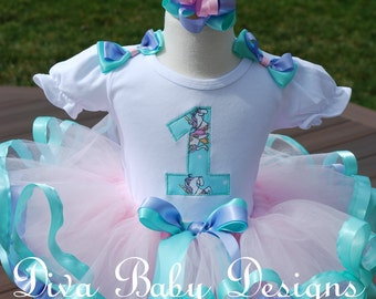 girls first birthday outfit Pink lavender and aqua baby girls first second third birthday dress Carousel horses ribbon trimmed tutu set