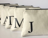 Monogram makeup bag, monogram clutch,  Neutral linen - Will you be My Bridesmaid - Bridal Party - personalized with letter, monogram or name