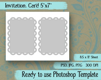 "Digital Template: ""Paddle Fan"" DIY Digital A7 Card Photoshop Template, Scrapbooking, Crafts, Tags"