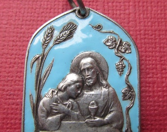 Jesus Holy Communion Antique French Blue Enamel Religious Medal Pendant SS47