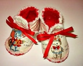 Reserved for SBSG: Red and White Vintage Animal Baby Booties Crib Shoes