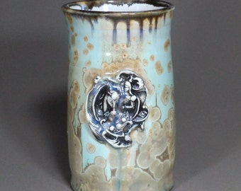 Knight and Horse Releif Stamped Turquoise Tan Brown Gold Crystalline Glazed Porcelain Stamped Art Nouveau Floral Handle Large Beer Mug Stein