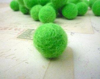 Felt Balls SMALL - Bright Green  x 20 - 1cm
