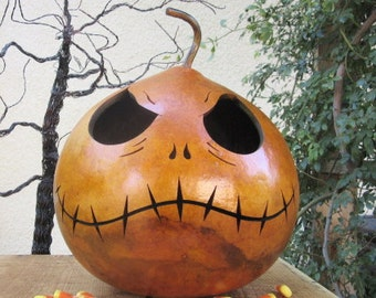 Halloween Gourd Large Jack Skellington Jack O Lantern Primitive Pumpkin Decoration ( inspired by Tim Burton )