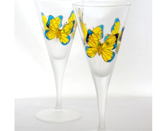 Crystal Wine Glasses Wedding Glassware Hand Painted Crystal Yellow Butterfly