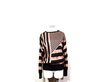 BTS SALE Vintage 70s 80s Disco Queen Stripped Glittery Black & Copper Knit Sweater women s-m indie hipster retro preppy glam holiday winter